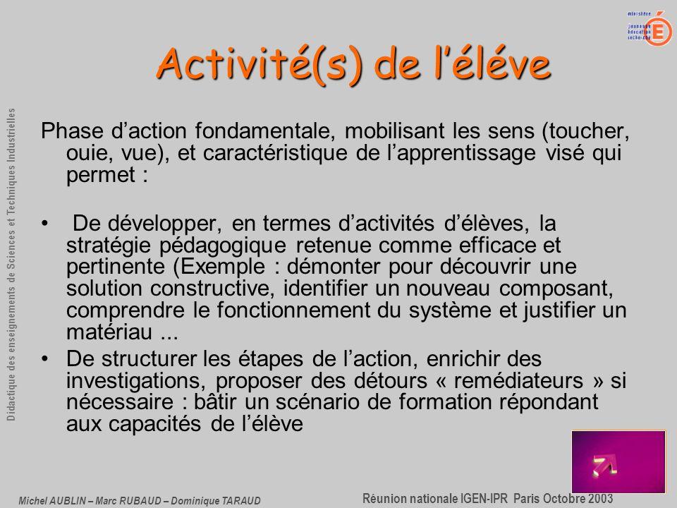 Activité(s) de l'éléve