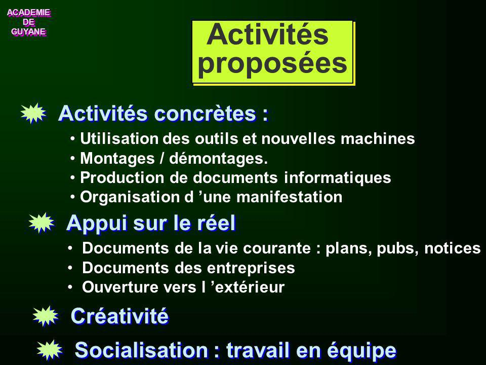 Activités proposées Activités concrètes : Appui sur le réel Créativité