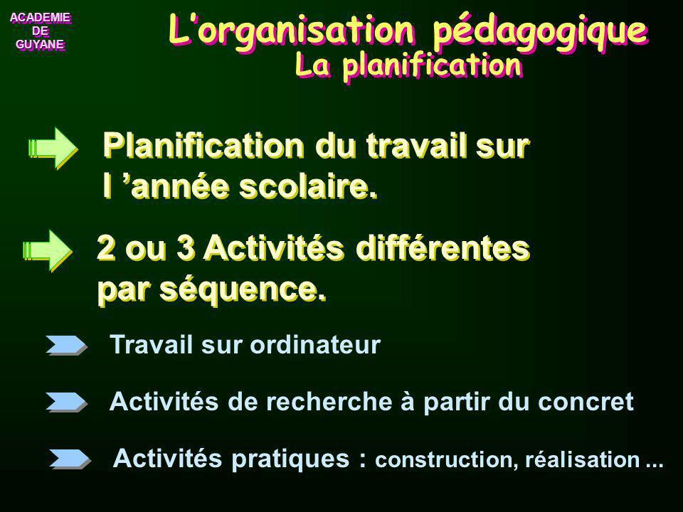 L'organisation pédagogique La planification