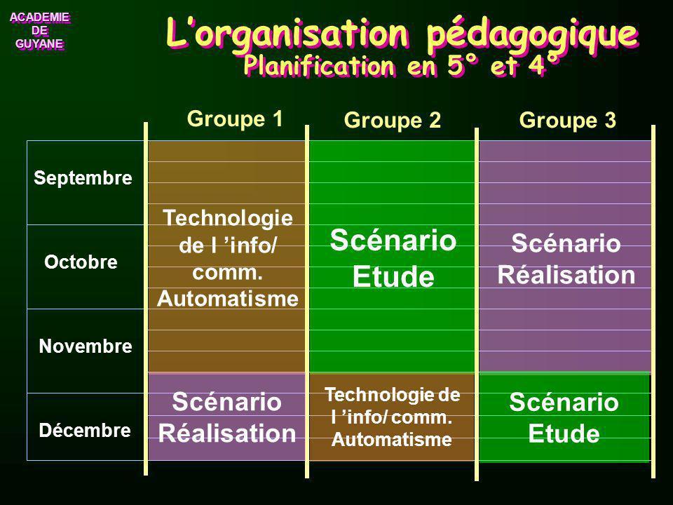 L'organisation pédagogique Planification en 5° et 4°