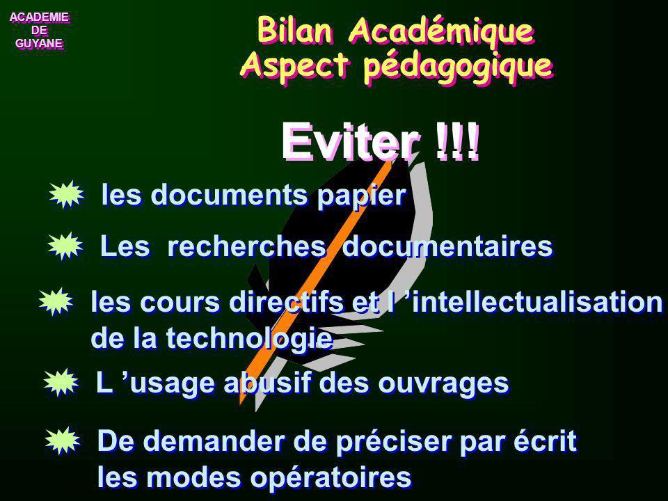 Bilan Académique Aspect pédagogique