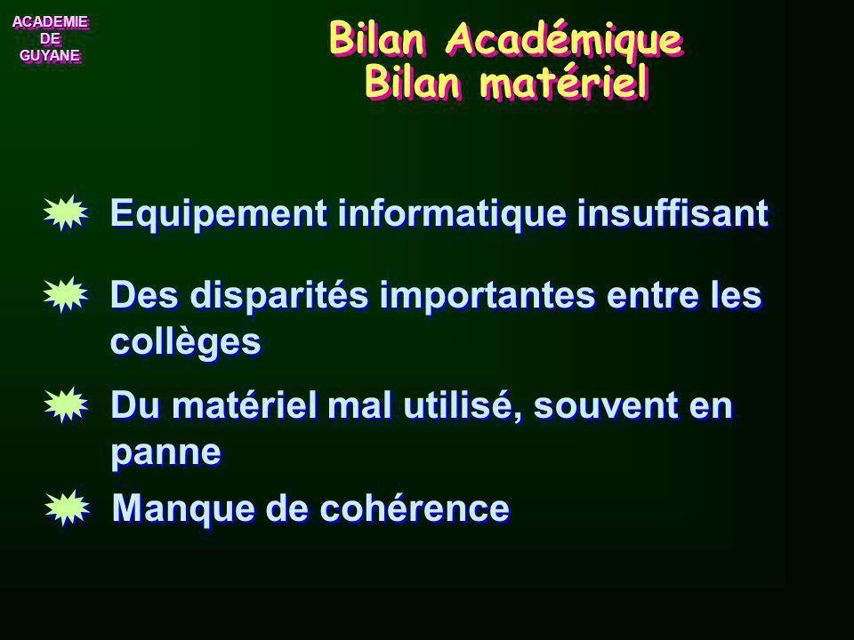 Bilan Académique Bilan matériel