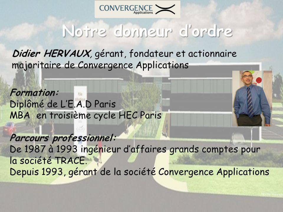Notre donneur d'ordre Didier HERVAUX, gérant, fondateur et actionnaire majoritaire de Convergence Applications.