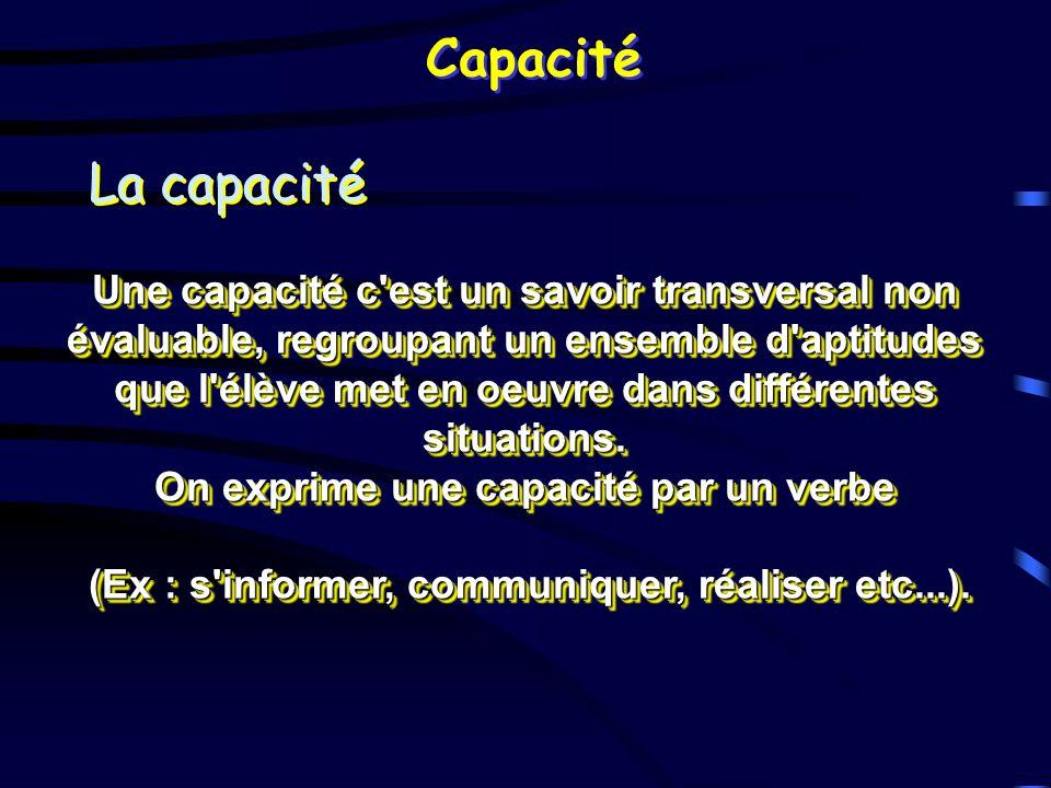 Capacité La capacité.