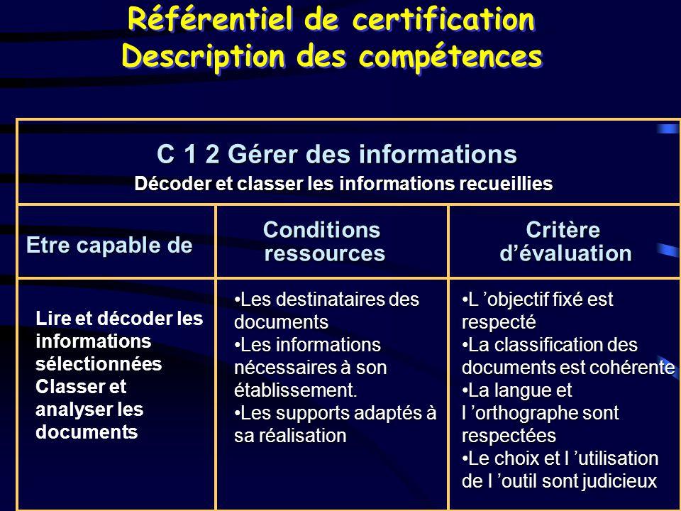 Référentiel de certification Description des compétences