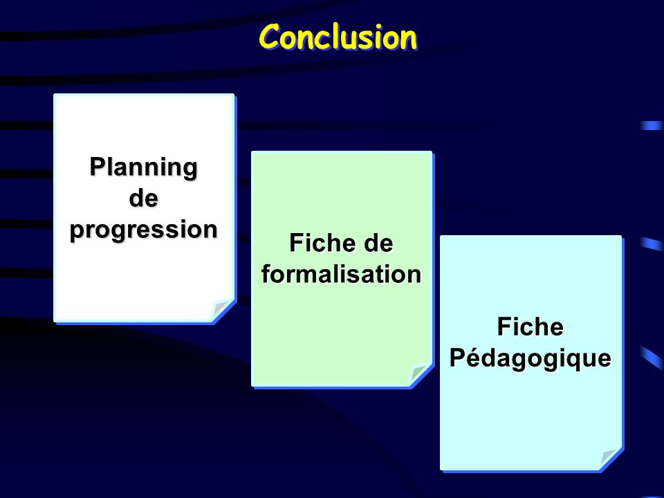 Conclusion Planning de progression Fiche de formalisation