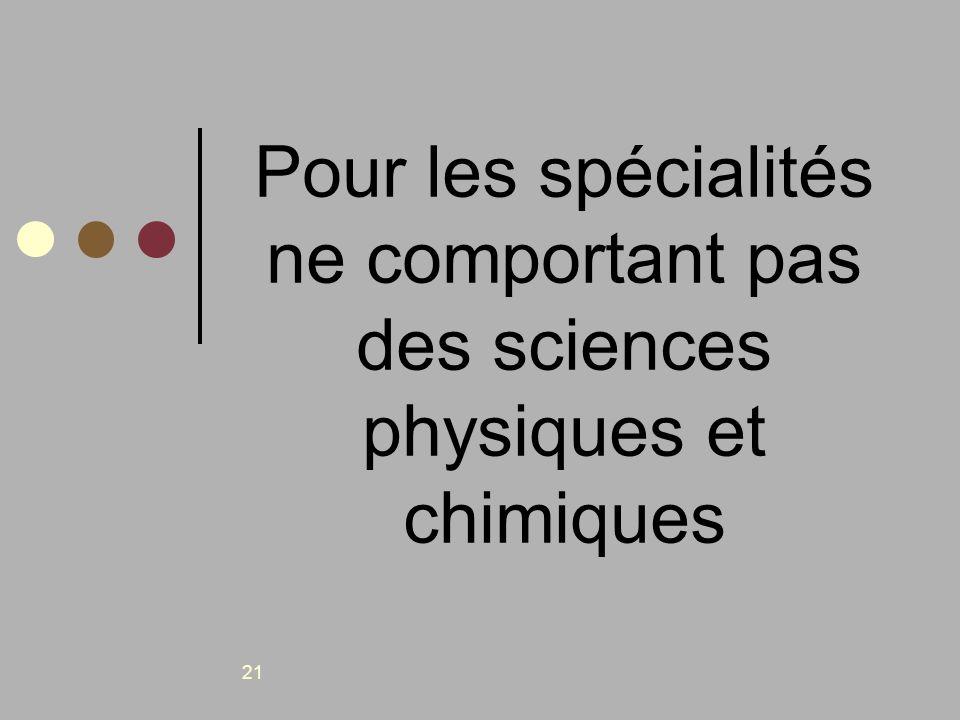 Pour les spécialités ne comportant pas des sciences physiques et chimiques