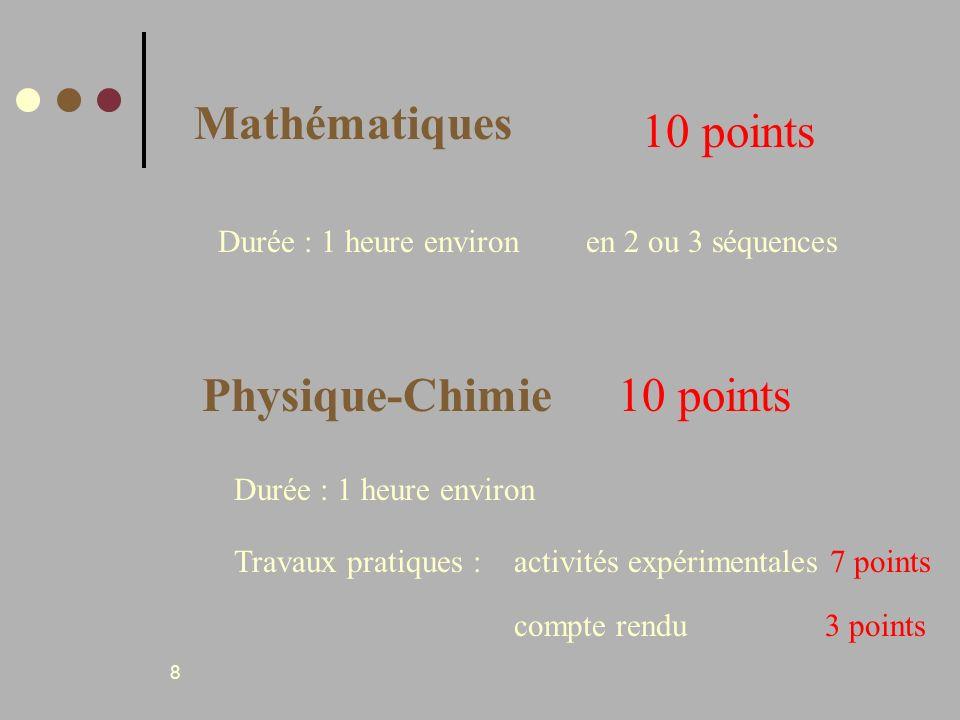 Mathématiques 10 points Physique-Chimie 10 points