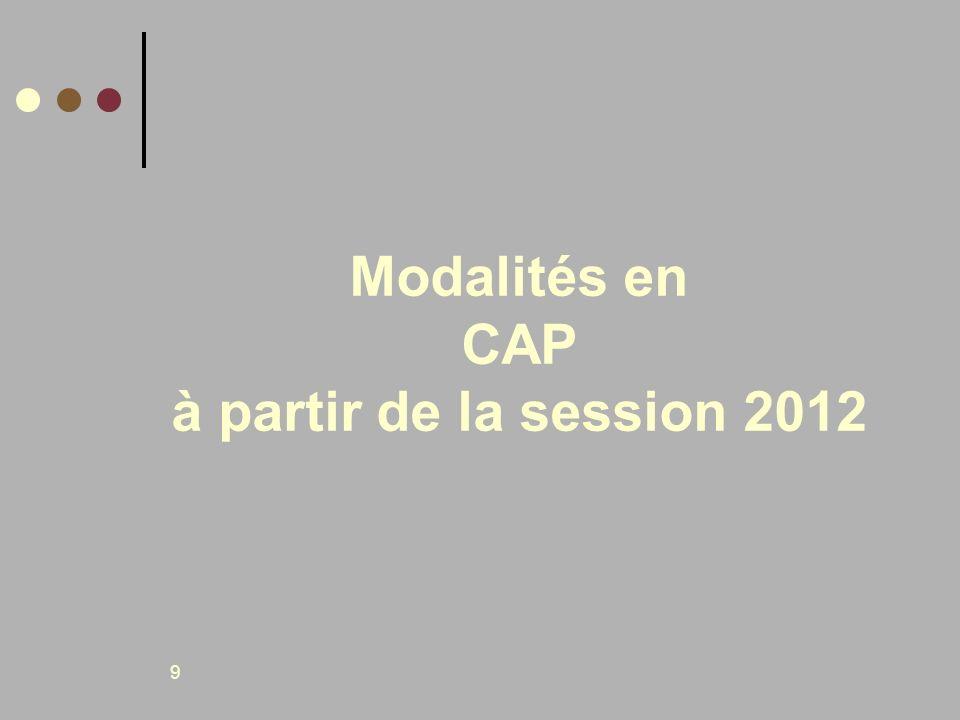 Modalités en CAP à partir de la session 2012