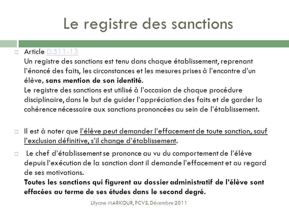 Le registre des sanctions