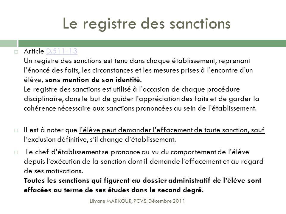 Le registre des sanctions