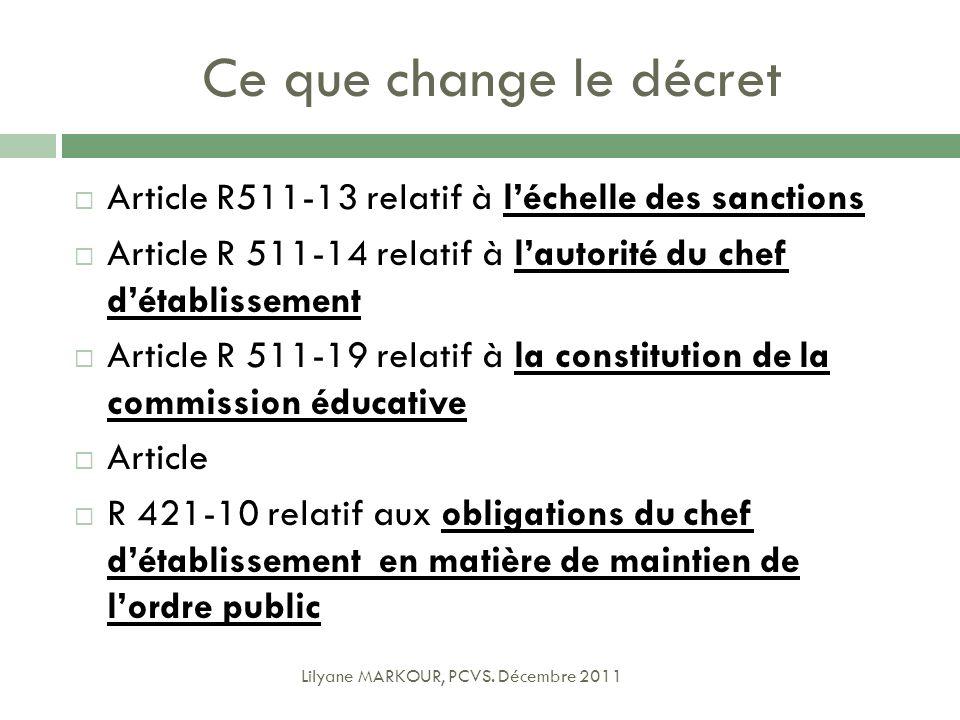 Ce que change le décret Article R511-13 relatif à l'échelle des sanctions. Article R 511-14 relatif à l'autorité du chef d'établissement.