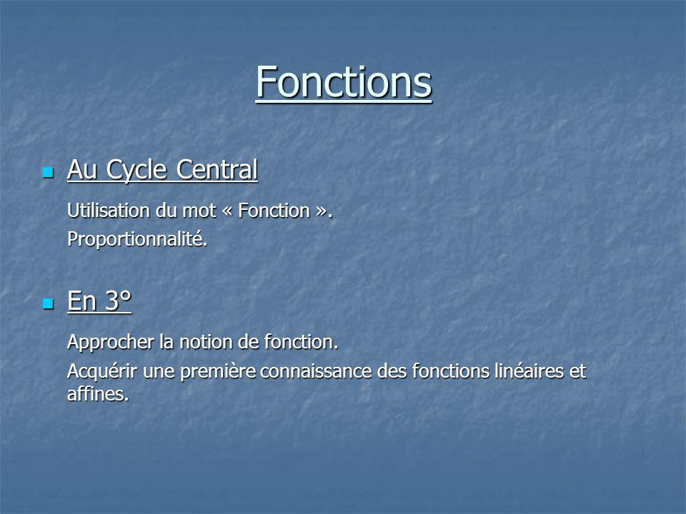 Fonctions Au Cycle Central Utilisation du mot « Fonction ». En 3°