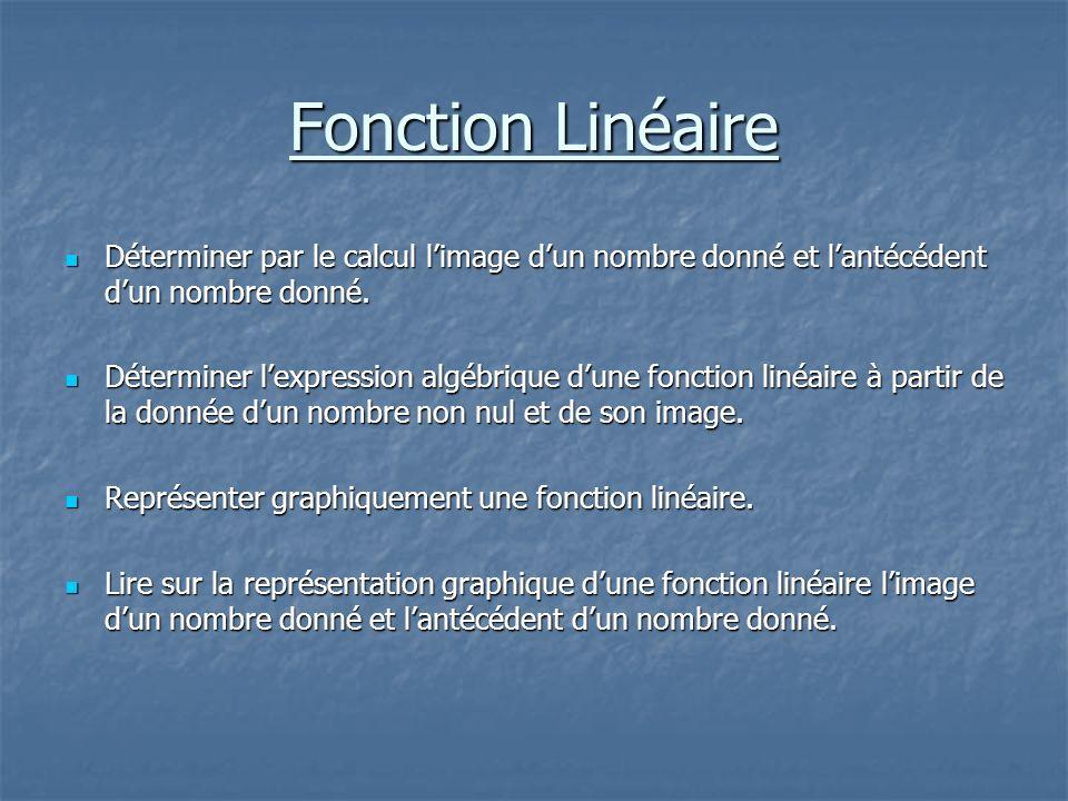 Fonction Linéaire Déterminer par le calcul l'image d'un nombre donné et l'antécédent d'un nombre donné.
