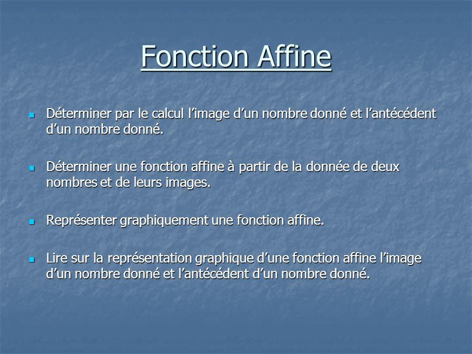 Fonction Affine Déterminer par le calcul l'image d'un nombre donné et l'antécédent d'un nombre donné.