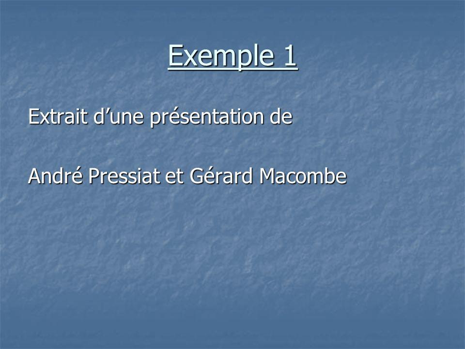 Exemple 1 Extrait d'une présentation de