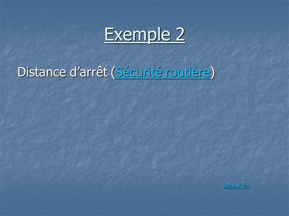 Exemple 2 Distance d'arrêt (Sécurité routière) suite et fin