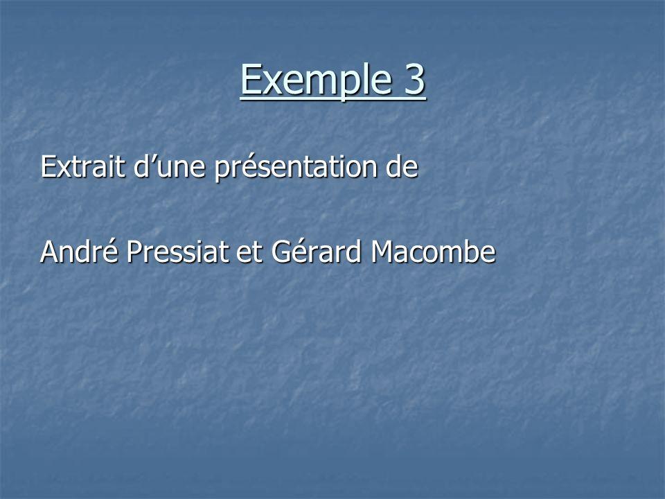 Exemple 3 Extrait d'une présentation de