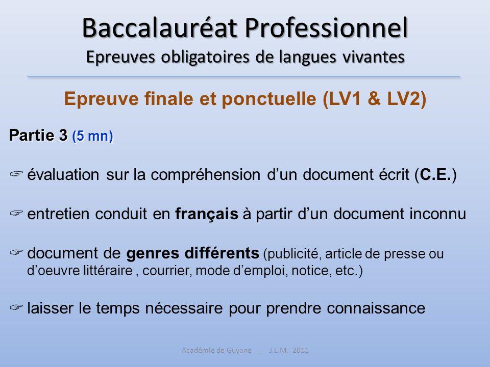 Baccalauréat Professionnel Epreuves obligatoires de langues vivantes