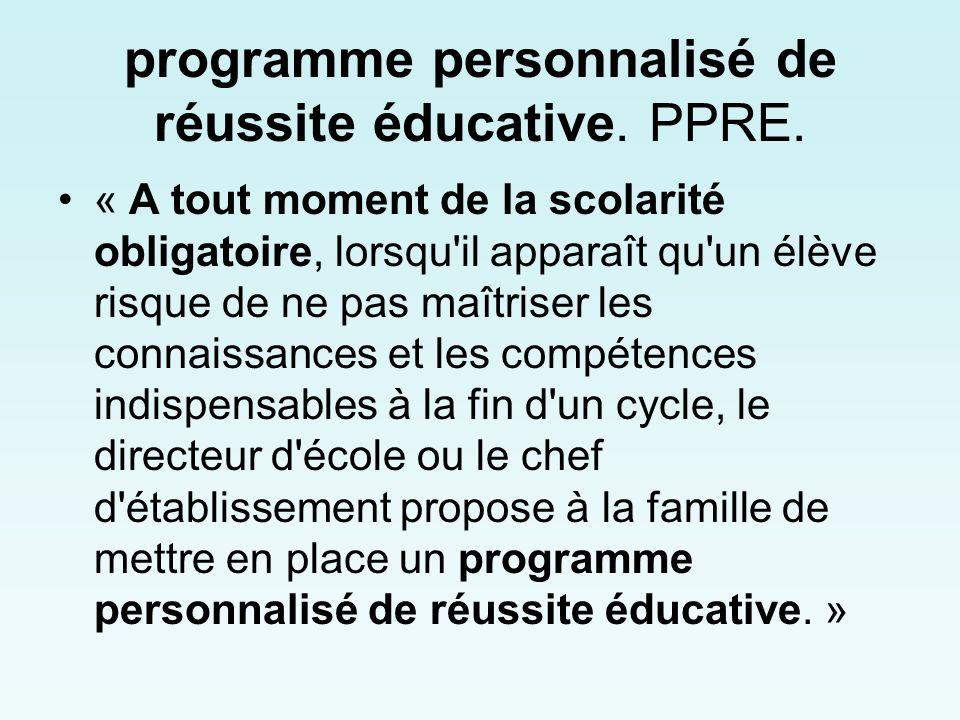 programme personnalisé de réussite éducative. PPRE.