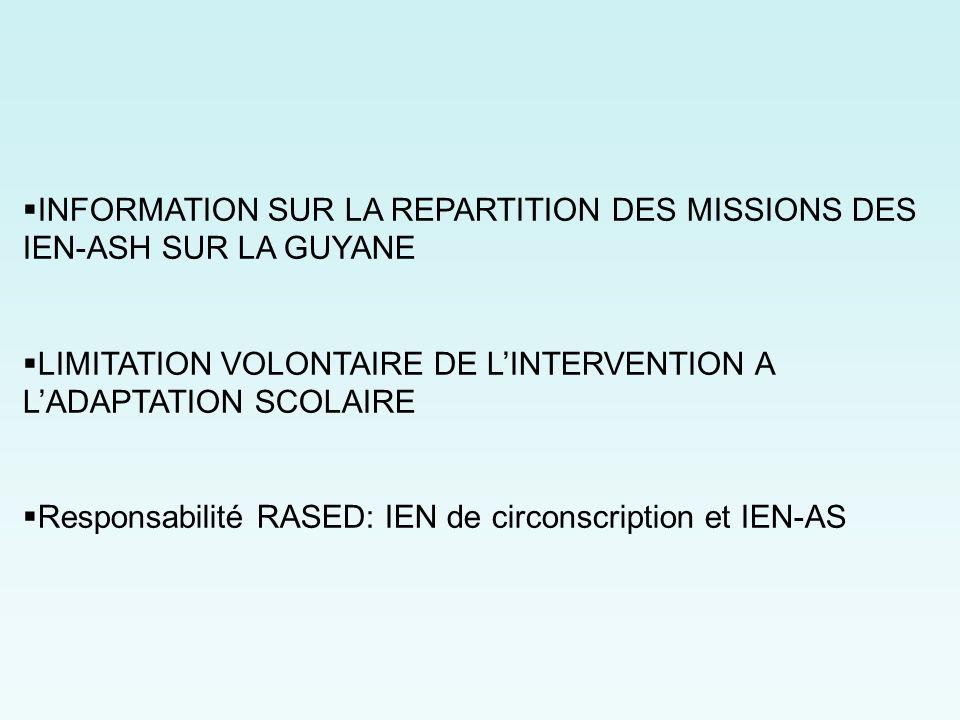 INFORMATION SUR LA REPARTITION DES MISSIONS DES IEN-ASH SUR LA GUYANE