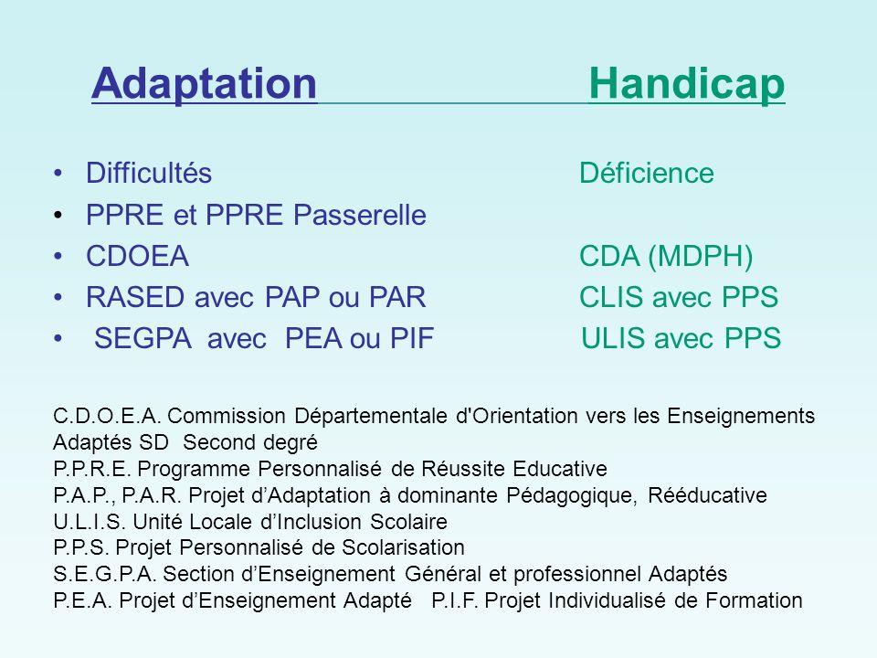 Adaptation Handicap Difficultés Déficience PPRE et PPRE Passerelle
