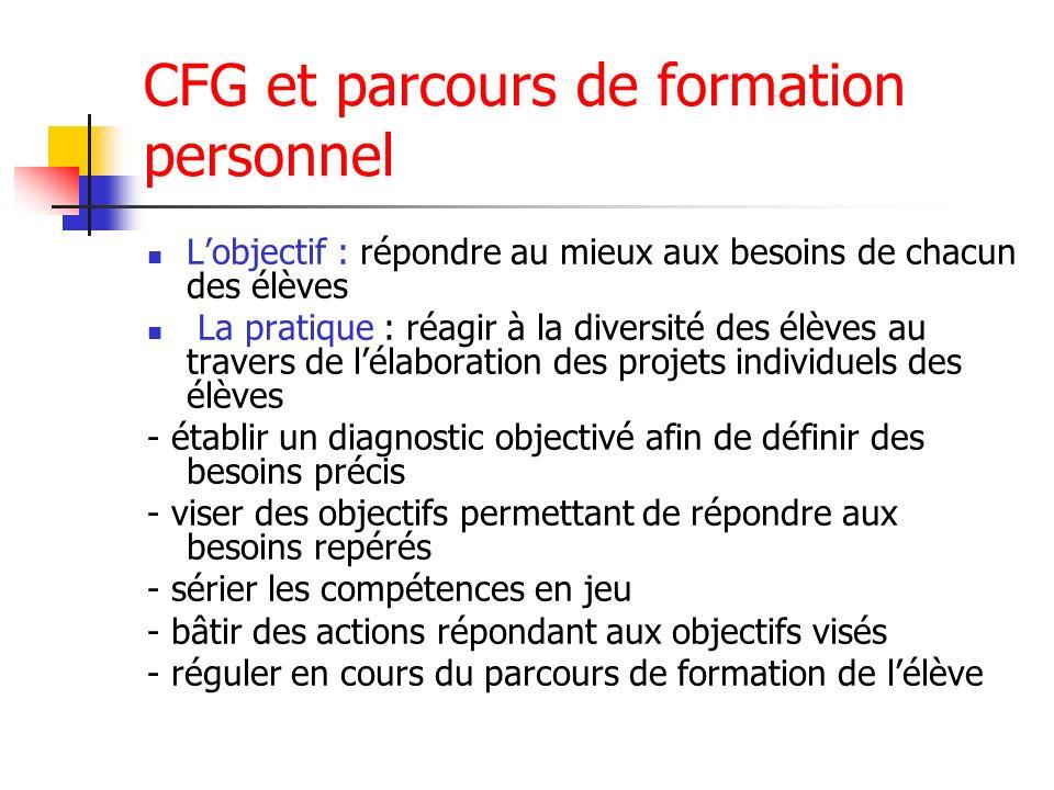 CFG et parcours de formation personnel