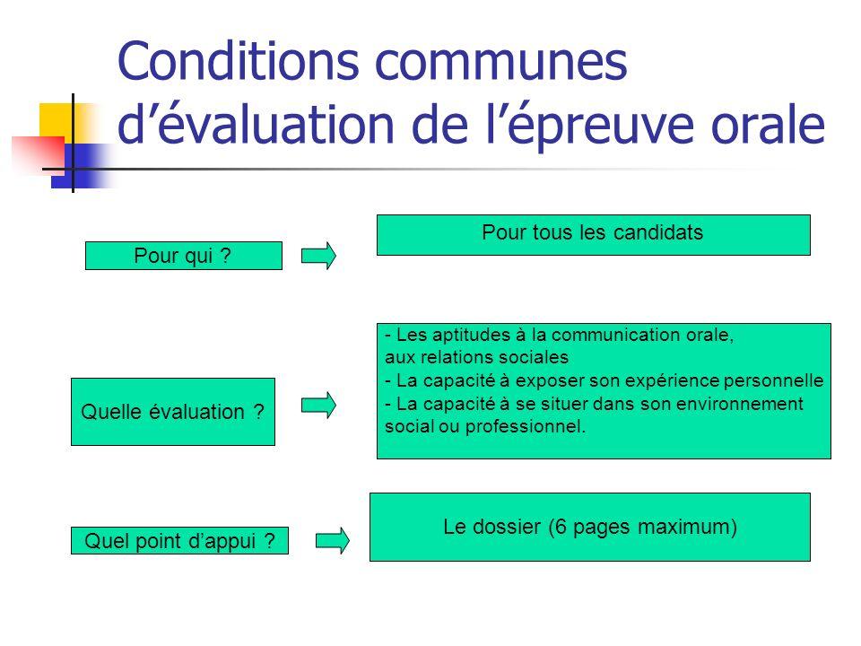 Conditions communes d'évaluation de l'épreuve orale