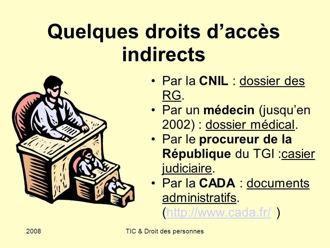 Quelques droits d'accès indirects