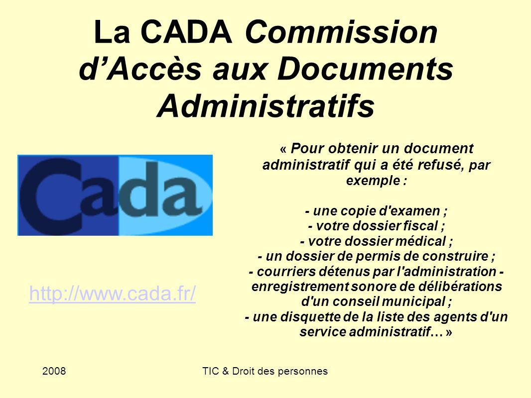 La CADA Commission d'Accès aux Documents Administratifs