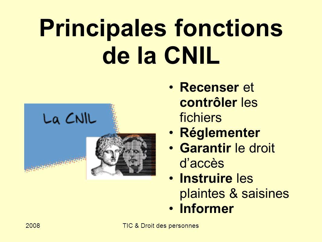 Principales fonctions de la CNIL