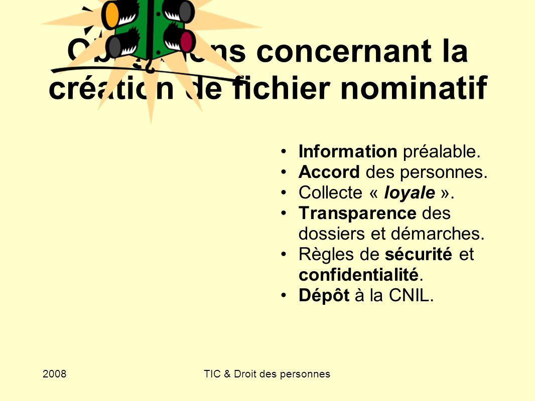 Obligations concernant la création de fichier nominatif
