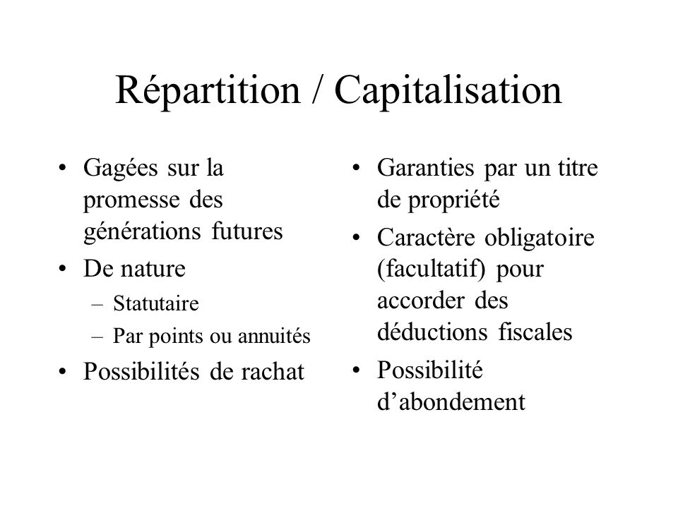 Répartition / Capitalisation