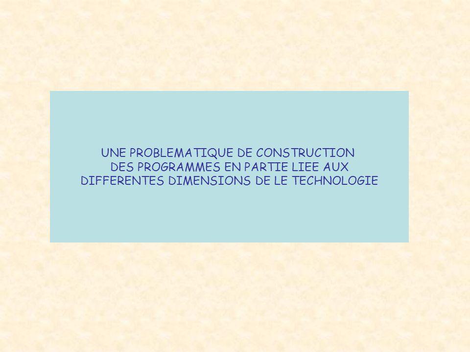 UNE PROBLEMATIQUE DE CONSTRUCTION DES PROGRAMMES EN PARTIE LIEE AUX