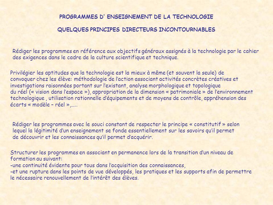 PROGRAMMES D' ENSEIGNEMENT DE LA TECHNOLOGIE