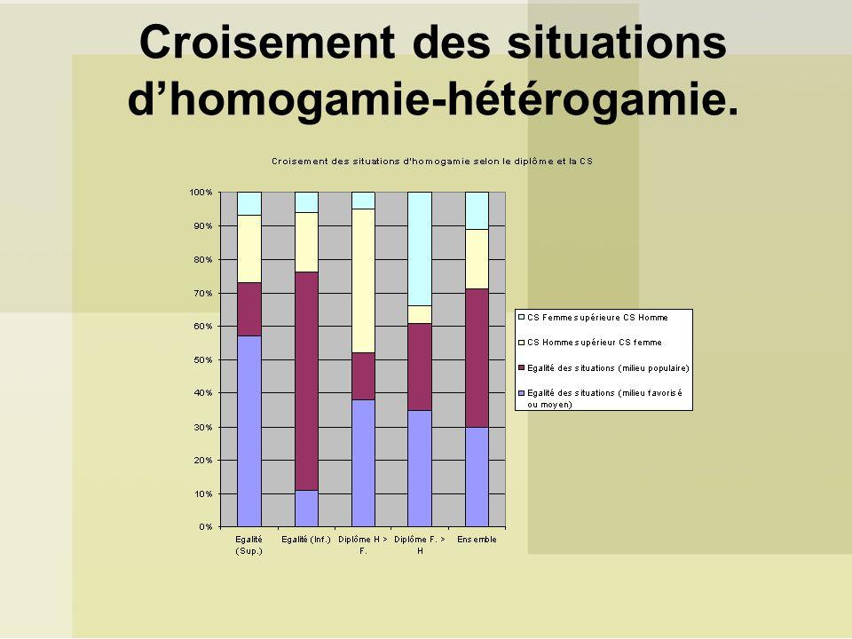 Croisement des situations d'homogamie-hétérogamie.