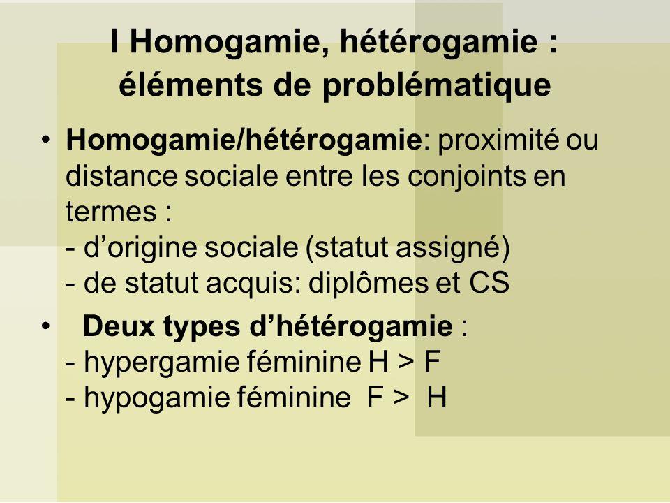 I Homogamie, hétérogamie : éléments de problématique