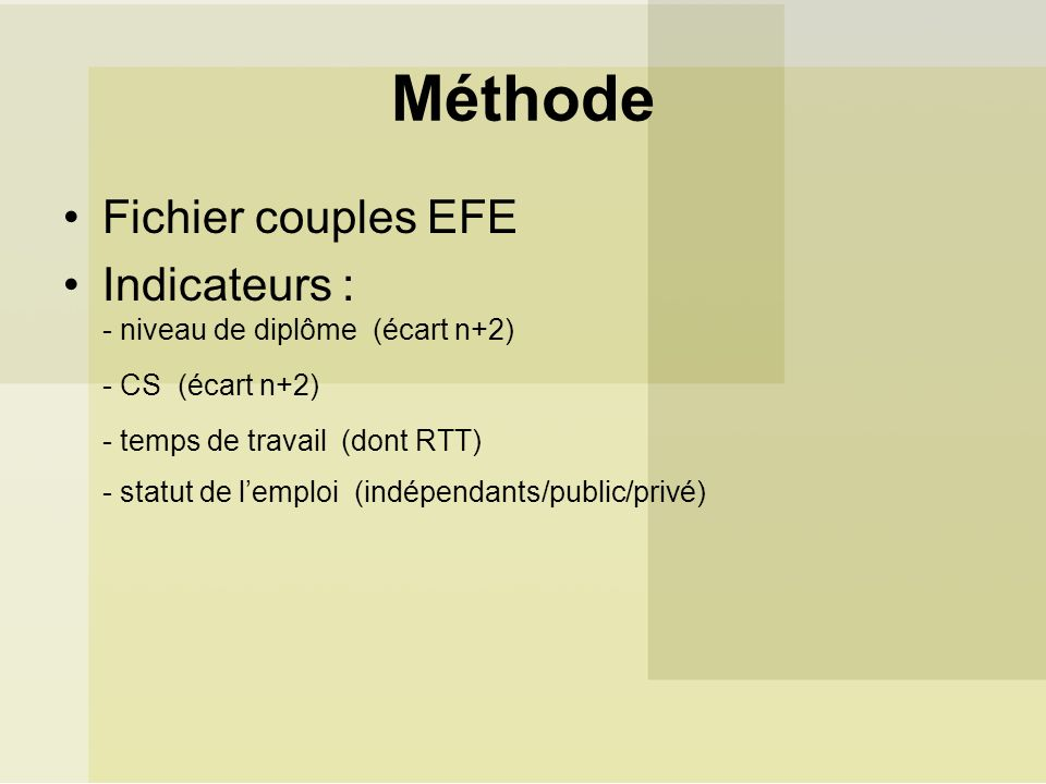 Méthode Fichier couples EFE