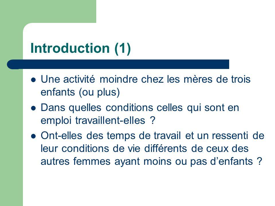 Introduction (1) Une activité moindre chez les mères de trois enfants (ou plus)