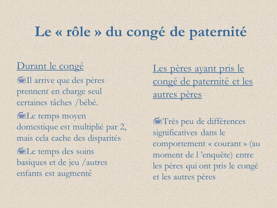 Le « rôle » du congé de paternité