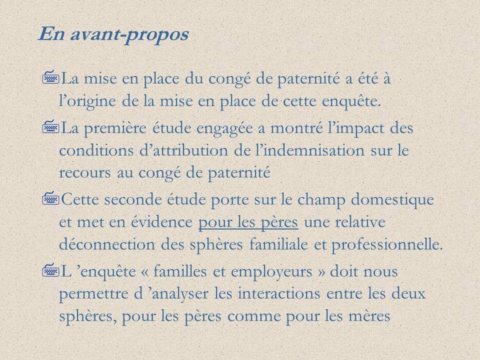 En avant-proposLa mise en place du congé de paternité a été à l'origine de la mise en place de cette enquête.