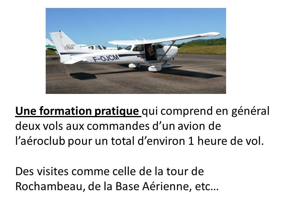 Une formation pratique qui comprend en général deux vols aux commandes d'un avion de l'aéroclub pour un total d'environ 1 heure de vol.
