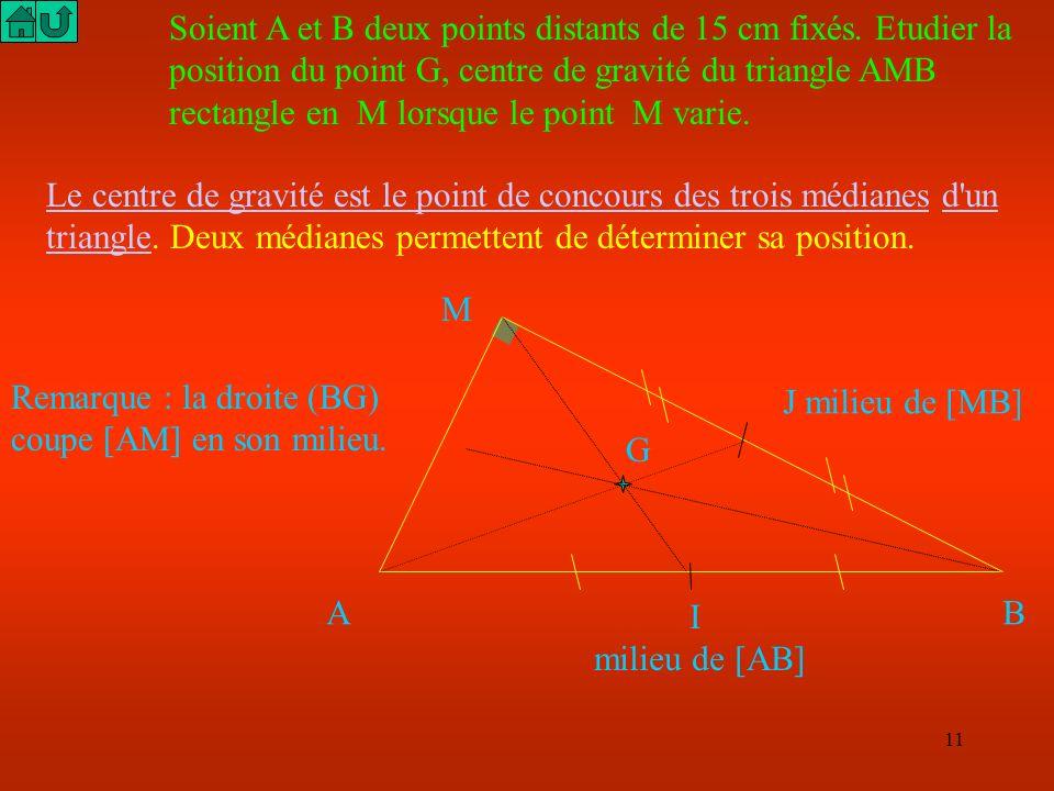 Soient A et B deux points distants de 15 cm fixés