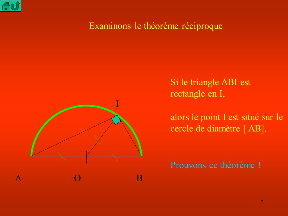 Examinons le théorème réciproque