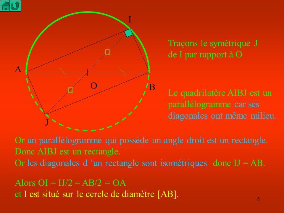 I Traçons le symétrique J de I par rapport à O. A. O. B. Le quadrilatère AIBJ est un parallélogramme car ses diagonales ont même milieu.