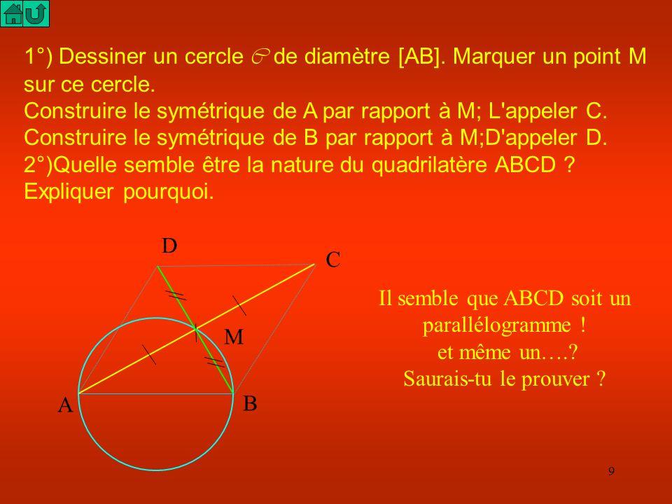 Il semble que ABCD soit un parallélogramme !