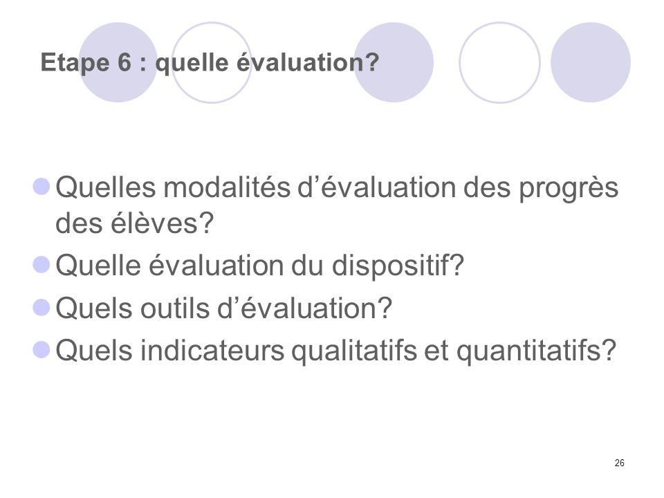 Etape 6 : quelle évaluation