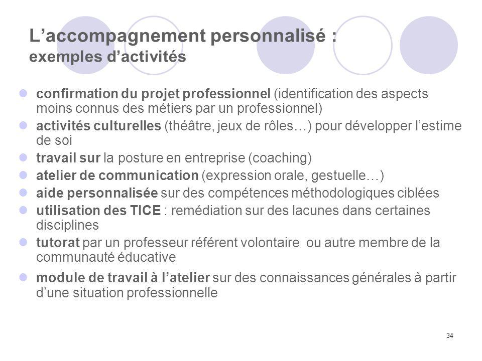 L'accompagnement personnalisé : exemples d'activités