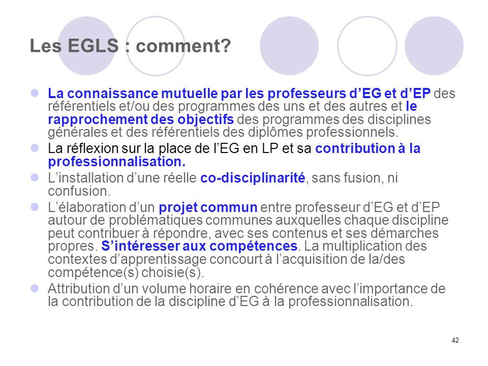 Les EGLS : comment