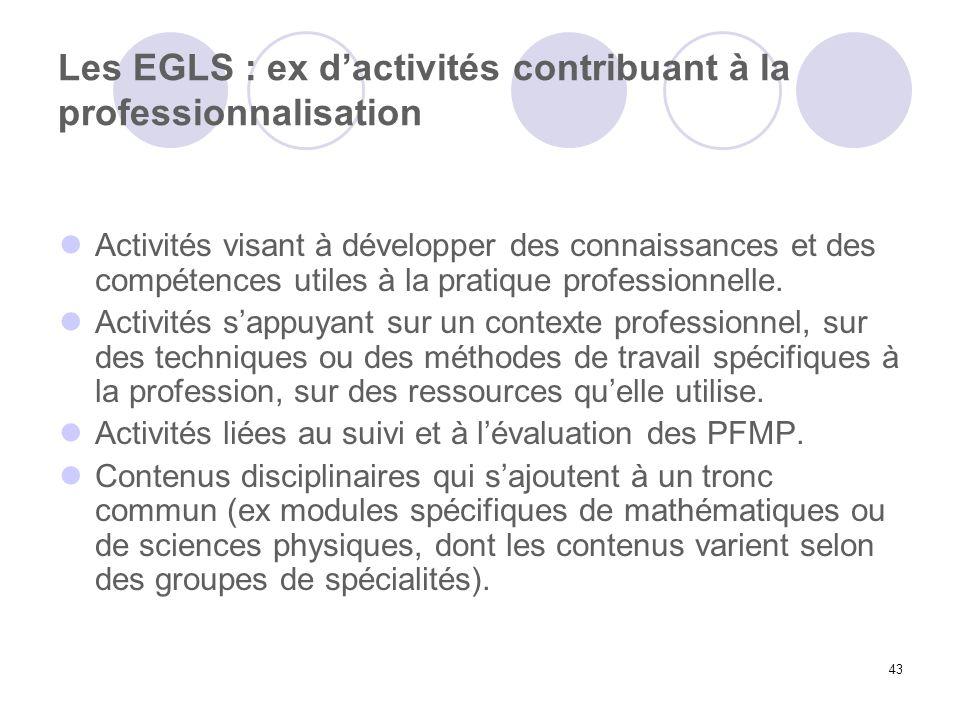 Les EGLS : ex d'activités contribuant à la professionnalisation